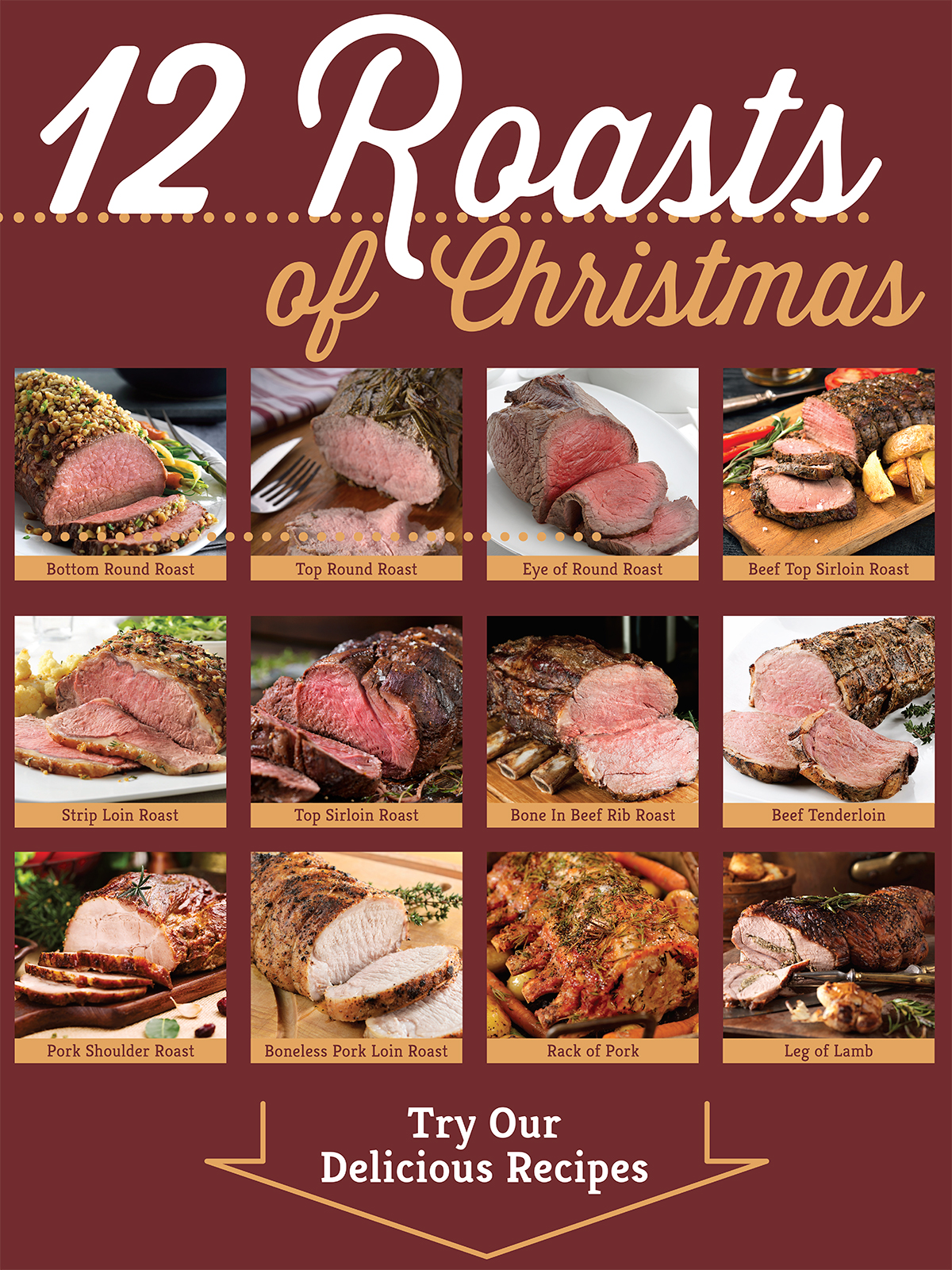 12 meat roasts for Christmas