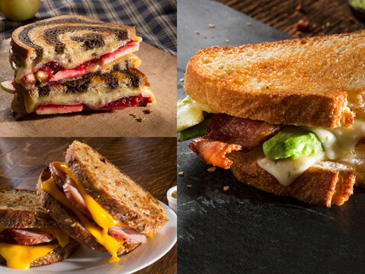 Three different kinds of grilled cheese sandwiches toppings include bacon, avocado and apples