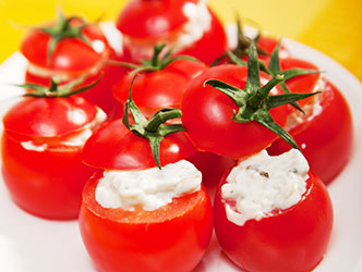 holiday appetizer with cottage cheese and cherry tomatoes