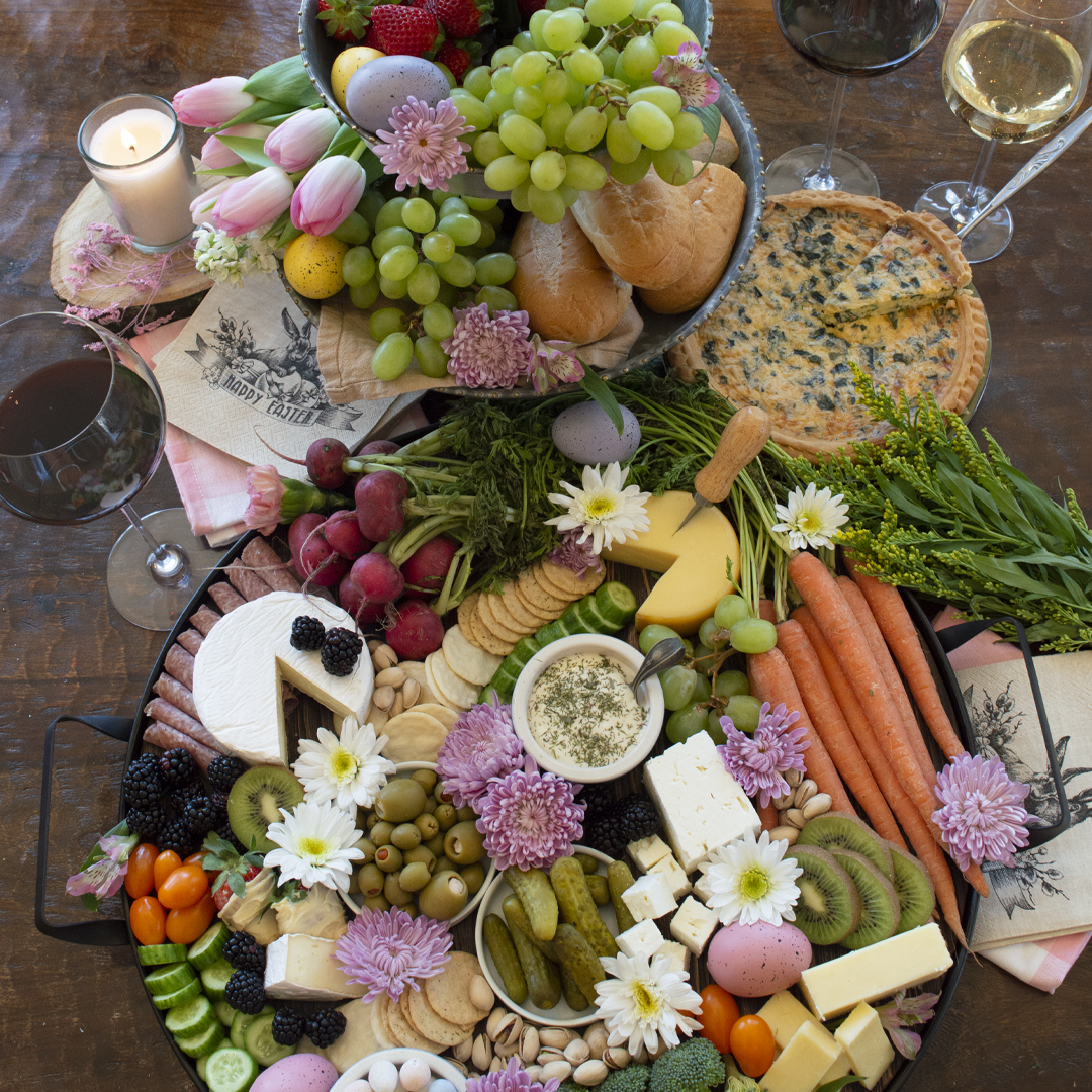Easter grazing boards with flowers and wine