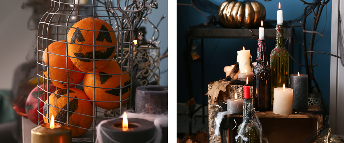 Decorating with pumpkins and candles