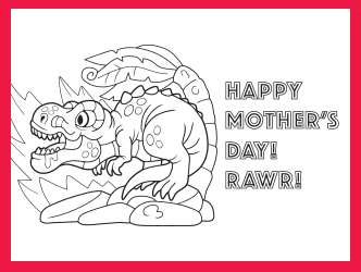 Mother's Day Dinosaur coloring page