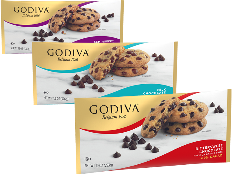 Packages of Godiva baking chips
