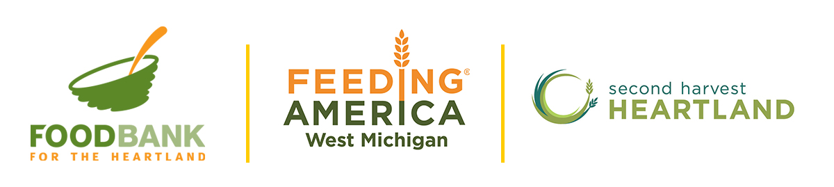FoodBank for the Heartland logo, Feeding America West Michigan logo, second harvest heartland logo