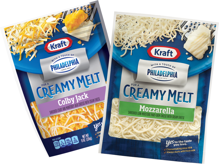 Philadelphia cream cheese to Kraft natural shredded cheese for a creamy melt you'll love