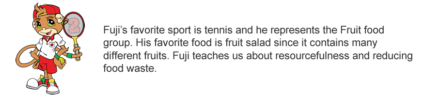 Meet Fuji!  Fuji represents the Fruit food group.
