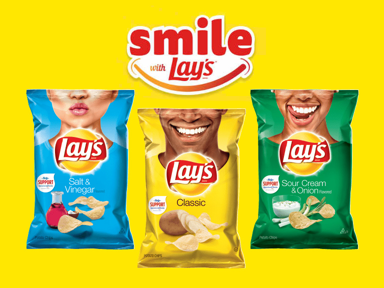 Smile with Lays chip bags with happy smiles on it.