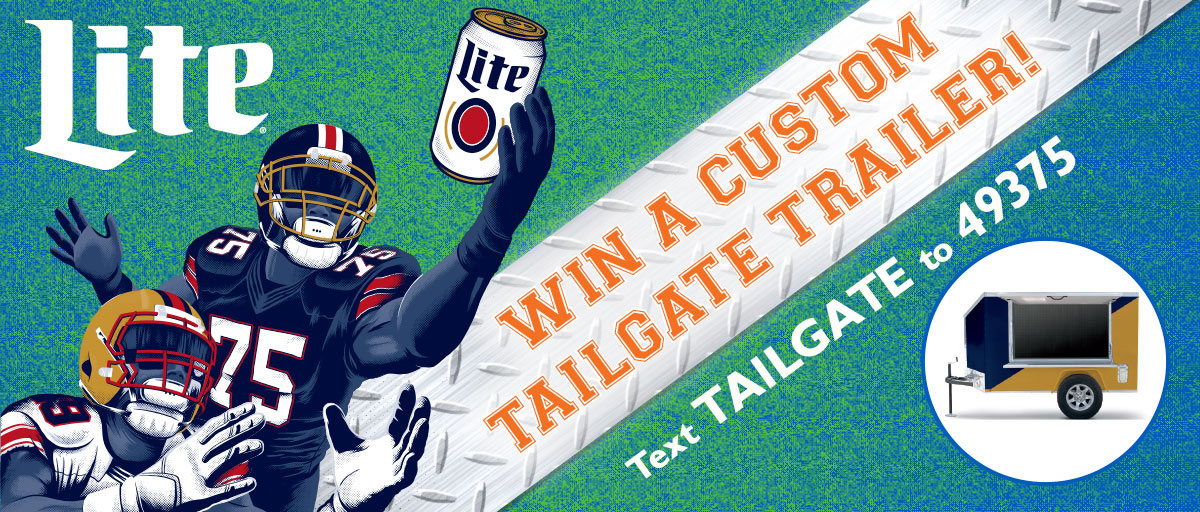 Win a custom tailgate trailer!  Text to win!