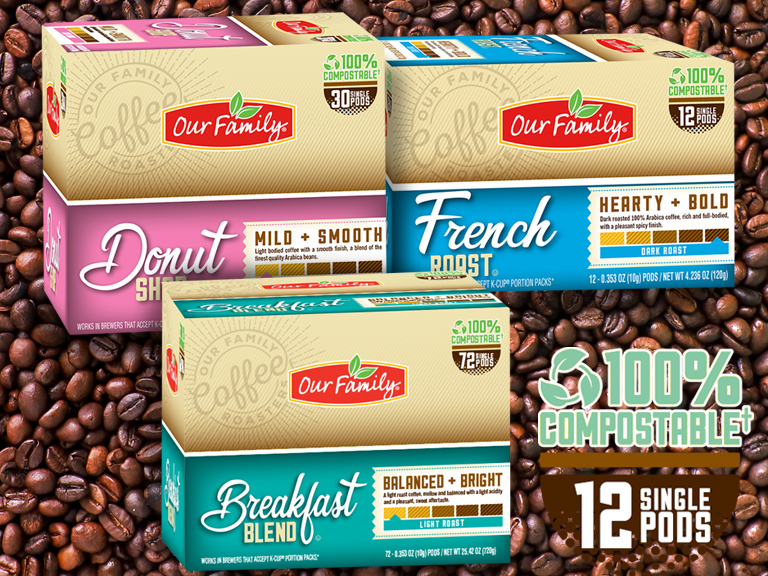 Collage of Compostable Our Family Brand Coffee Pods