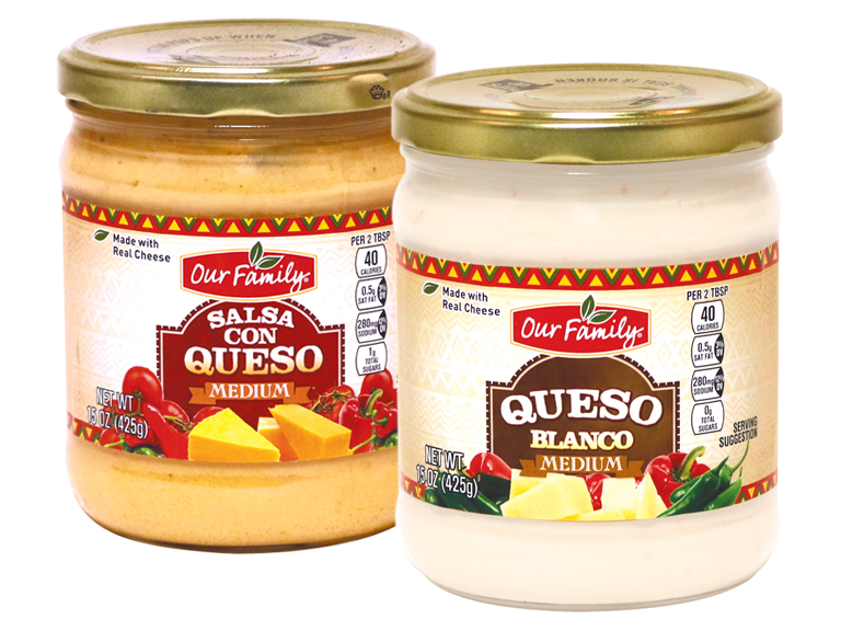 Jars of Our Family brand queso dip