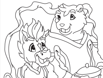 Oatis and Colby coloring page