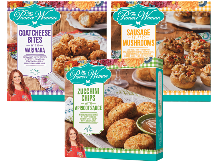 Packages of Pioneer Women brand appetizers