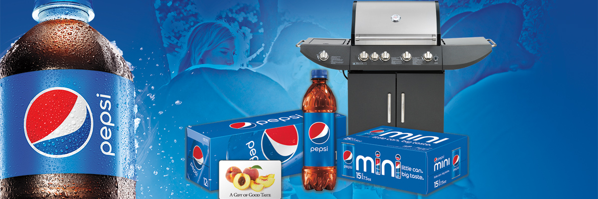 Pepsi bottle in foreground with grill and cases of Pepsi in background