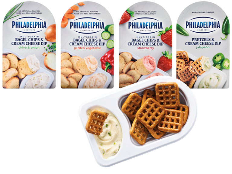 variety of flavors of Philidelphia Cream Cheese Dips with pita chips and pretzels