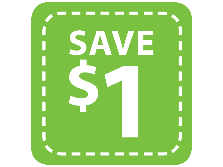 Save 1 dollar in digital coupons