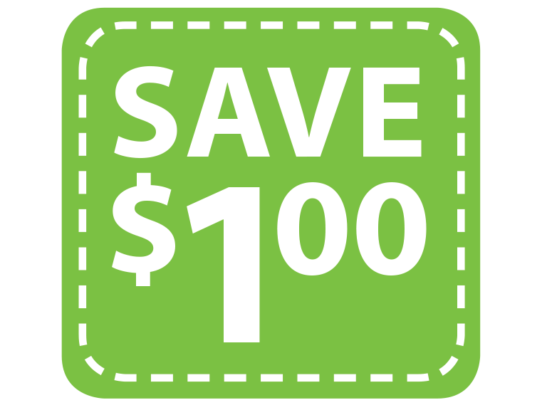 Save 1 dollar by clipping coupons