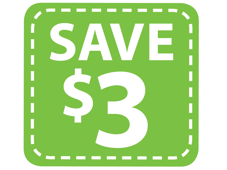 Save 3 dollars with digital coupons