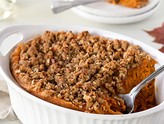Sweet Potato Soufflé with Butter Pecan Topping Recipe