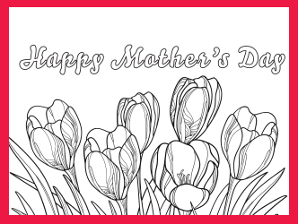 Tulip Mother's Day coloring card