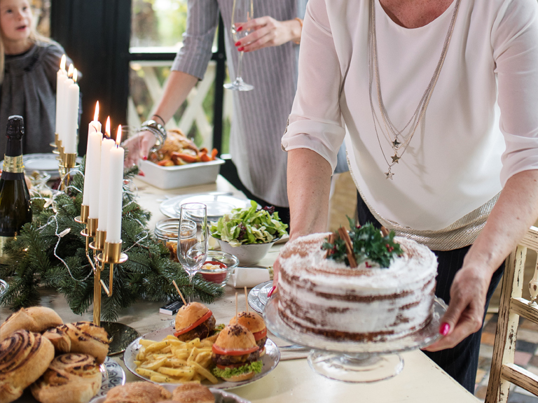 Holiday table setting with a meal