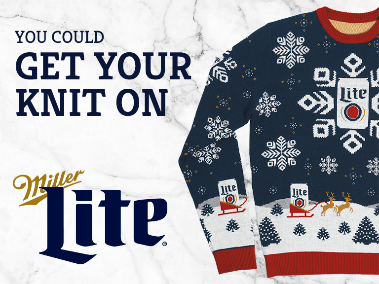 Enter for a chance to win a holiday sweater from Miller Lite.