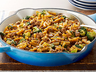 Our quick chili cheeseburger skillet dinner will get you to the hockey game in time