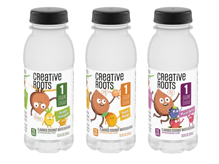 Bottles of Creative Roots brand beverages
