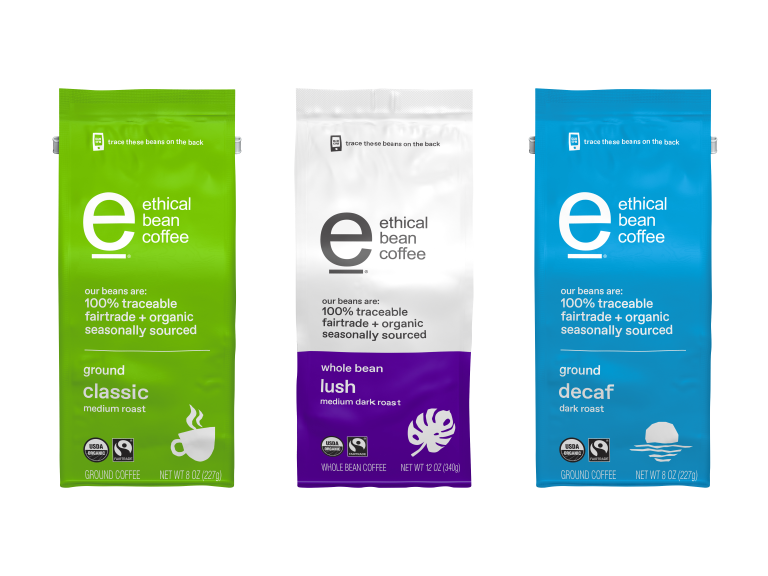 Bags of Ethical Bean brand coffee
