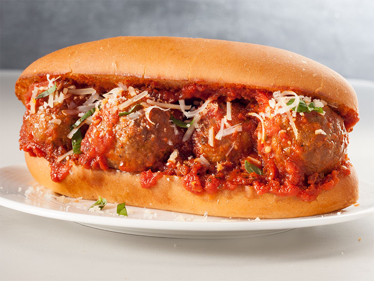 photo of a meatball grinder sandwich