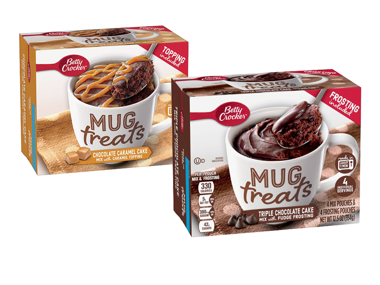 New Betty Crocker cakes which cook inside a mug in the microwave and are ready to eat with a couple minutes