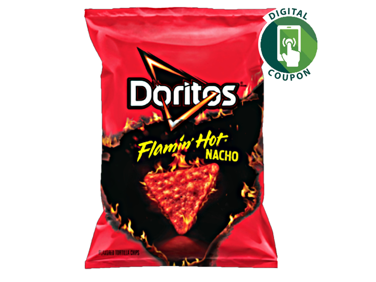 photo of bag of doritos flaming hot tortilla chips
