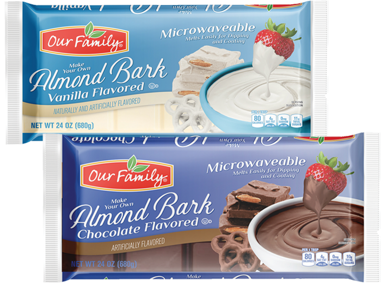 Packages of Our Family brand almond bark for baking