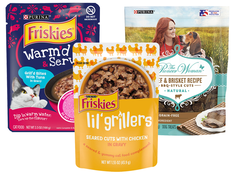 Packages of Purina brand pet treats