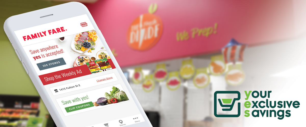 image of smart phone showing Family Fare app with the yes logo in lower right