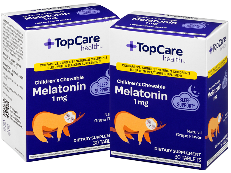 TopCare brand chewable Melatonin made for children in a natural grape flavor